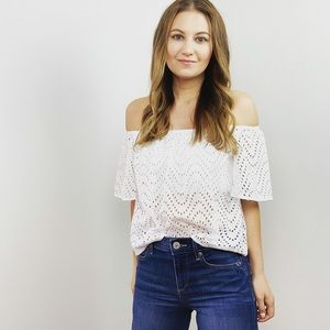 Express White Eyelet Off the Shoulder Top